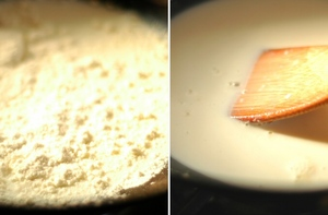 ホワイトクリームソースの素を入れ、よくかき混ぜます